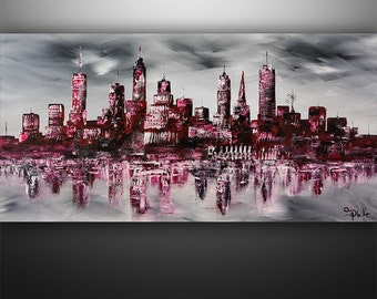 Abstract Painting, Cityscape Painting, Skyline Painting, Large Painting, Wall Art, Wall Decor, Art by Gabriela Black White red,Made To Order