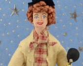 Lucille Ball as Harpo Marx Doll Miniature Television Actress Art Collectible