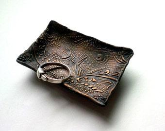 Ring Bowl Jewelry Dish - Small Raku Wedding Ring Dish Ring Bearer Tray Ceramics and Pottery Raku Jewelry Bowl - Stash Bowl - Trinket Bowl