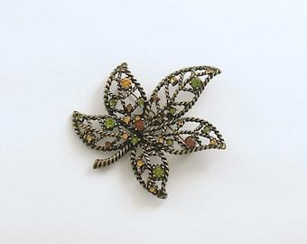 Vintage Brooch Rhinestone Leaf Avon Pin Costume Jewelry