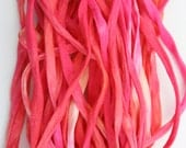 """SowZerE SRA  - NEW Fuchsia   - Two Pure silk hand made and  dyed strings  (50"""" long approx. each string) for jewelry and craft -"""