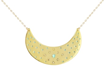 Gold Crescent Polka Dot Reversible Necklace // Modern and Feminine This Spotted Moon or Arch Pendant is Hung on Dainty Gold Vermeil Chain