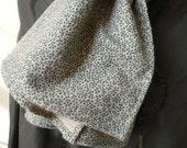 Vintage floral flannel scarf, forest green, selvedge - vegan - eco vintage fabric