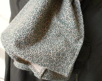 Vintage floral flannel scarf, forest green, selvedge - Spring - eco vintage fabric