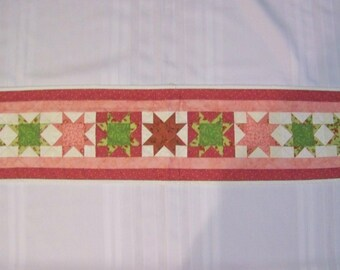 """8.5"""" x 37"""" Coral and Green 9 Star Table Runner (T11TAB)"""