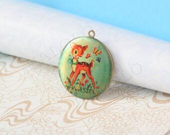 cute deer round antique brass locket 32mm (LD123)