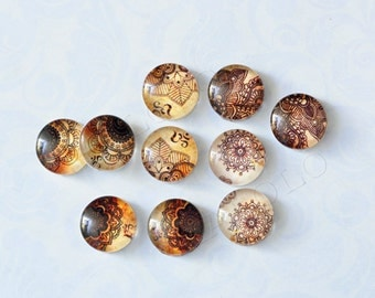 10pcs handmade assorted texture round clear glass dome cabochons / Wooden earring stud 12mm (12-1114)