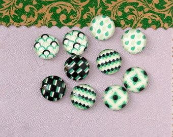 10pcs handmade assorted green geometric round clear glass dome cabochons / Wooden earring stud 12mm (12-9925)