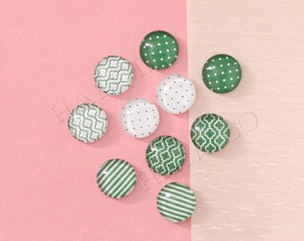 10pcs assorted green round clear glass dome cabochons 12mm (12-0856)