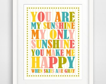 Children's Wall Art / Nursery Decor You Are My Sunshine Color Mix... print by Finny and Zook