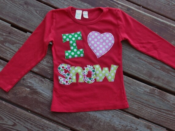 "gIRLS ""WHImSICAL TREeS"" Christmas I love snow or santa  applique tee shirt  in size 6-12-18-24 mth. 2T, 3/ 4, 5/ 6, 7/8"