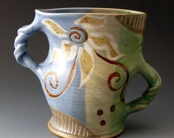 Dancing Vase with Flower Motif, Handmade Ceramic Vase, Fine Art Ceramics, Home Decor, Vases, Vessel,