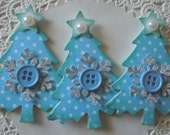 Christmas Tree Embellishments-Set Of 3-Blue Polka Dot
