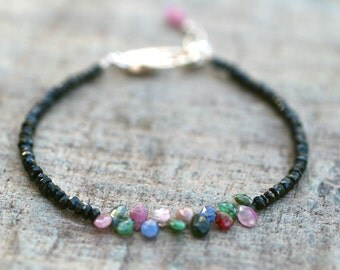 Black Spinel and Multi Color Sapphire Gemstone Bracelet, Gemstone Jewelry, Sapphire Bracelet