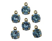Vintage Light Sapphire Faceted Glass Stone 1 Loop Gold Setting Drops 7mm (6) rnd017JJ