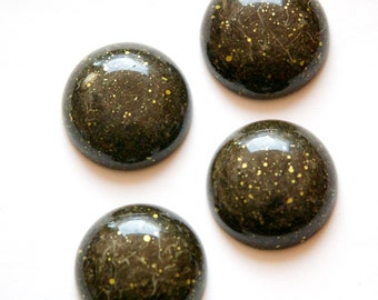 Vintage Brown with Gold Acrylic Cabochons 24mm (4) cab836C
