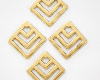 Raw Brass Square Chevron Charm Pendant (6) mtl404A