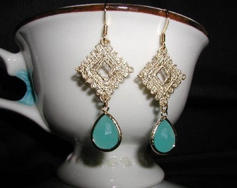 Beautiful Mint, Aqua, Gold Lace, Dangle Teardrop Earrings, Bridesmaid, wedding