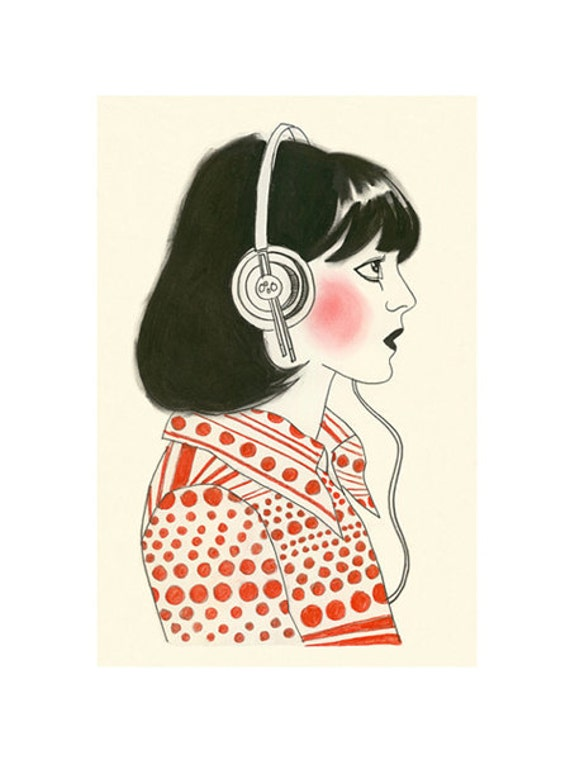 "Fashion illustration  New York Listener - 4"" X 6""  print - 4 for 3 SALE"