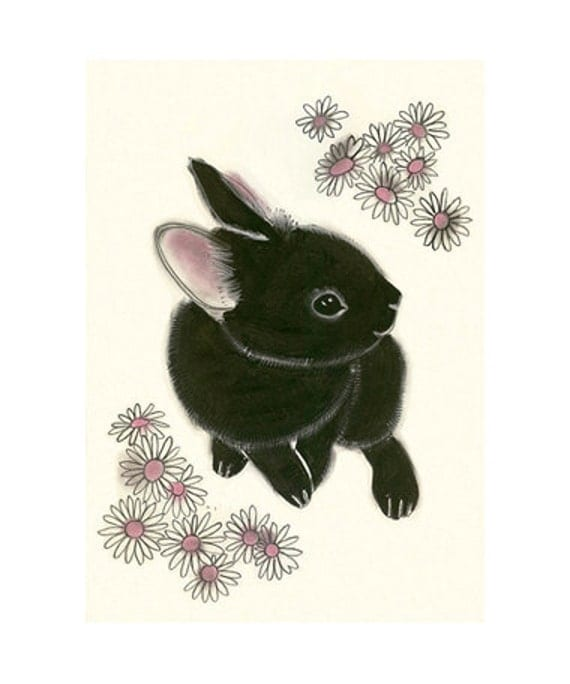 "Black Bunny Rabbit art print - Little Black Bunny - 4"" X 6"" animal portrait - 4 for 3 SALE"