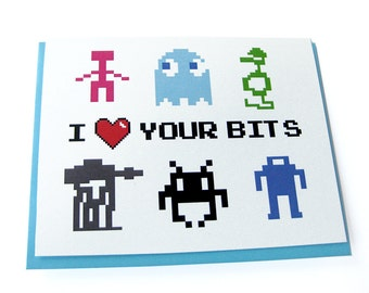 I Love Your Bits Card // Video Game 80s Geek Love Card // I Heart Your Bits Valentine