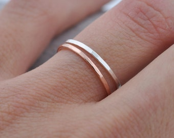 Single Thin 14k Rose Gold Band | Stacking Ring | Mid Knuckle Ring | Mid Finger Ring
