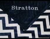 Monogrammed Boy Navy Chevron Large Minky Baby Blanket~Personalized~NWT~Boutique~