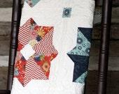 Poppy Quilt, Baby quilt, girl or boy, PB&J line modern