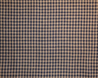 FLAWED Homespun Fabric Small Navy Check 1 Yard