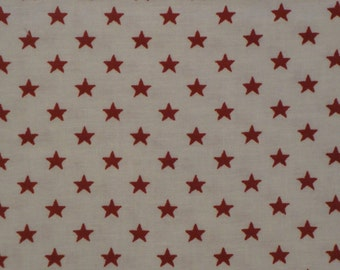 Cotton Fabric With Red Stars 1 Yard