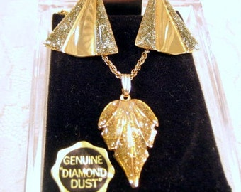 Vintage Diamond Dust Leaf Necklace and Earrings Gold Tone Chain Post Earrings 1980s