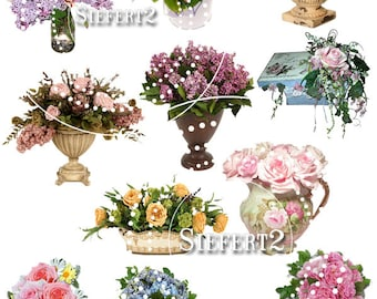 Vased Flowers Collage Sheet 2 You Will Get a jpeg sheet as well as Png images