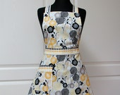 Womens Retro Full Apron, Handmade Modern Vintage Kitchen Cooking Aprons