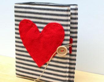 valentines gift anniversary photo album vintage ticking stripe hand embroidered heart