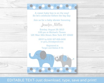 Blue Elephant Baby Shower Invitation INSTANT DOWNLOAD Editable PDF A407