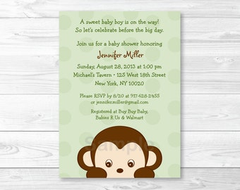 Cute Monkey Baby Shower Invitation / Monkey Baby Shower Invite / Jungle Animal Baby Shower / Baby Boy Shower / PRINTABLE