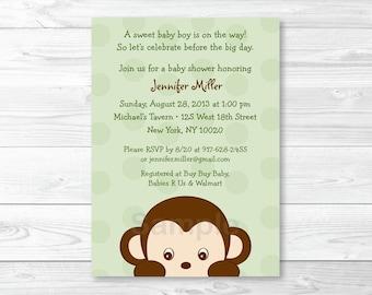 Cute Monkey Baby Shower Invitation / Monkey Baby Shower Invite / Jungle Animal Baby Shower / Baby Boy Shower / PRINTABLE A403