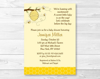 Bumble Bee Baby Shower Invitation / Bumble Bee Baby Shower Invite / Gender Neutral Baby Shower / PRINTABLE