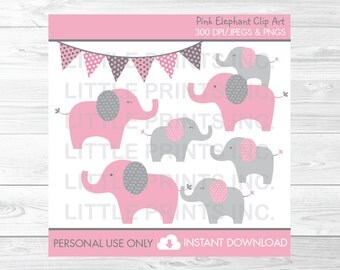 Pink Elephant Clipart PERSONAL USE Instant Download