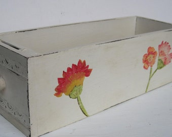 Creamy White Floral Vintage Sewing Drawer Storage Box