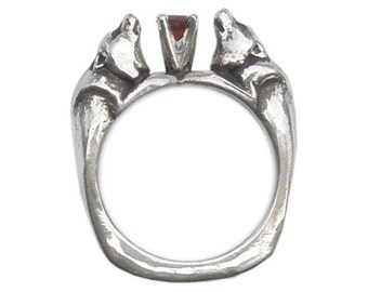 Wolf Pair Ring with Garnet