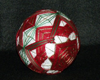 """Large 5-1/2"""" diameter """"Square Within A Square"""" Japanese Temari Ball-Japanese String Art-String Ball-Home Decor-Embroidery design-OFG Team"""