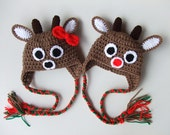 Crochet Christmas Reindeer Baby Hat - You Choose Style - Ready to Ship