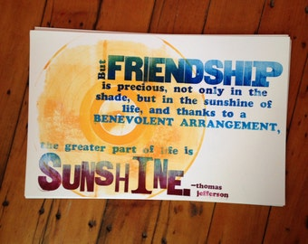 Friendship and Sunshine letterpress-printed broadside