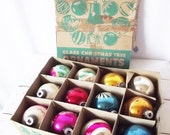 Vintage Shiny Brite Christmas Ornaments - 1940s 1950s -1 Dozen in box - Flocked Striped Pink Aqua Red Blue -Christmas in July