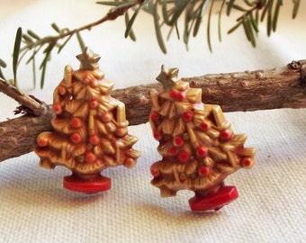 Vintage Christmas Tree Earrings - Screw-back Clip On - Christmas in July