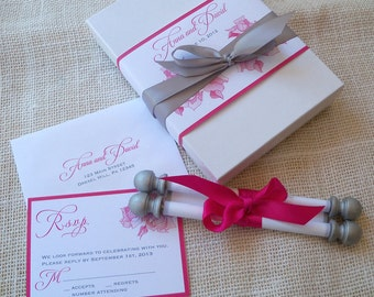 Romantic boxed wedding invitation suite, fabric scroll with rose flowers in pink and silver, calligraphy script invitation, pink roses {25}