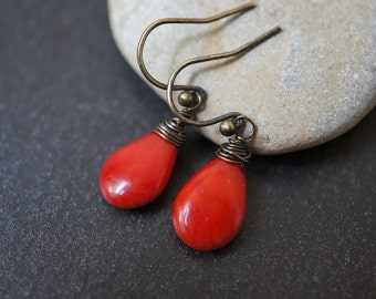 Vintage Walnut Tone Wires Hand Wrapped Natural Fire Red Tear Drop with Natural Coral Marks - 8mm x 12mm - 1 pair
