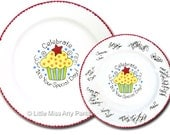 11 inch Ready to Ship - Hand Painted Signature Birthday Plate - Celebrate Cupcake Design