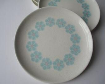 Vintage Taylor Smith Taylor Scandia Kristina Pink Aqua Floral Bread & Butter Plates Set of Six